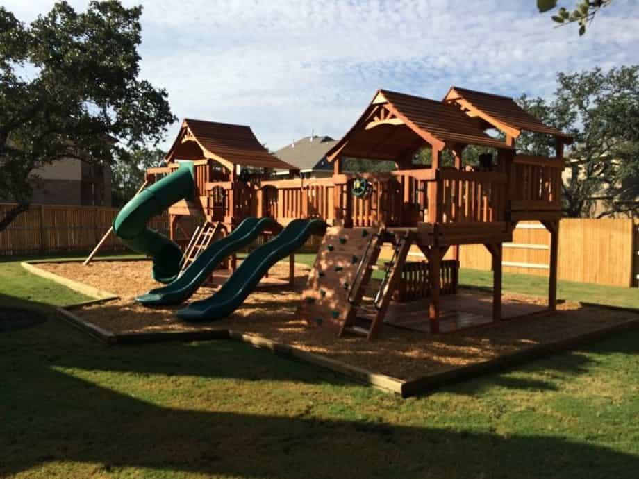 Bridged Swingset - lookout shack-Tube Slide