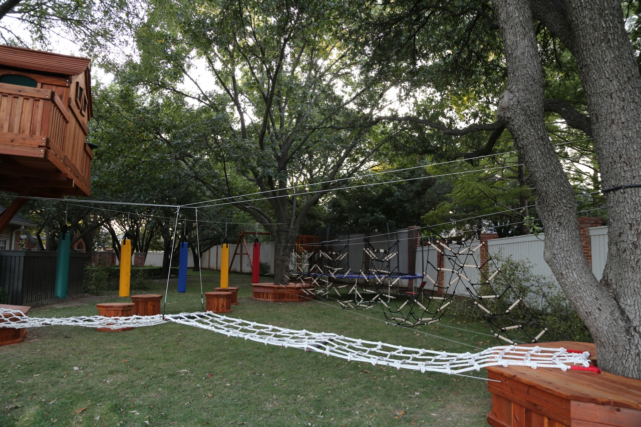 Obstacle Course with Tree House and swing set