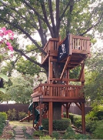 Tree Decks bridged to Fort Stockton playset