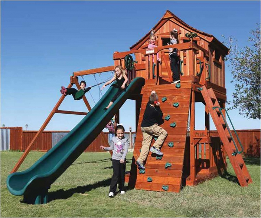 Fort Stockton Swing Set Rock Wall Backyard Fun Factory