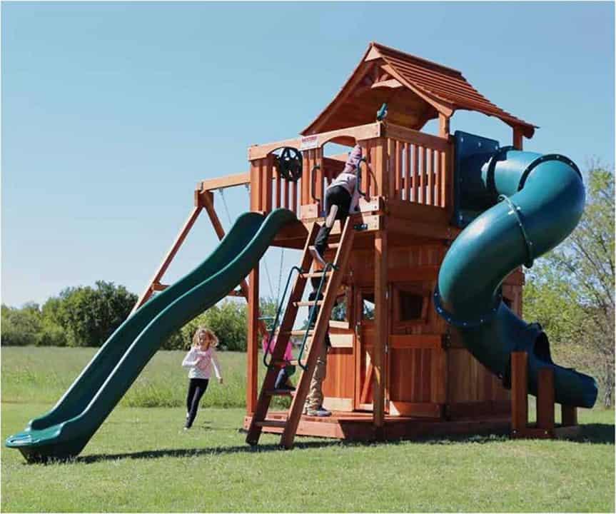 Fort Stockton Swing Set Spiral Tube Slide Backyard Fun Factory