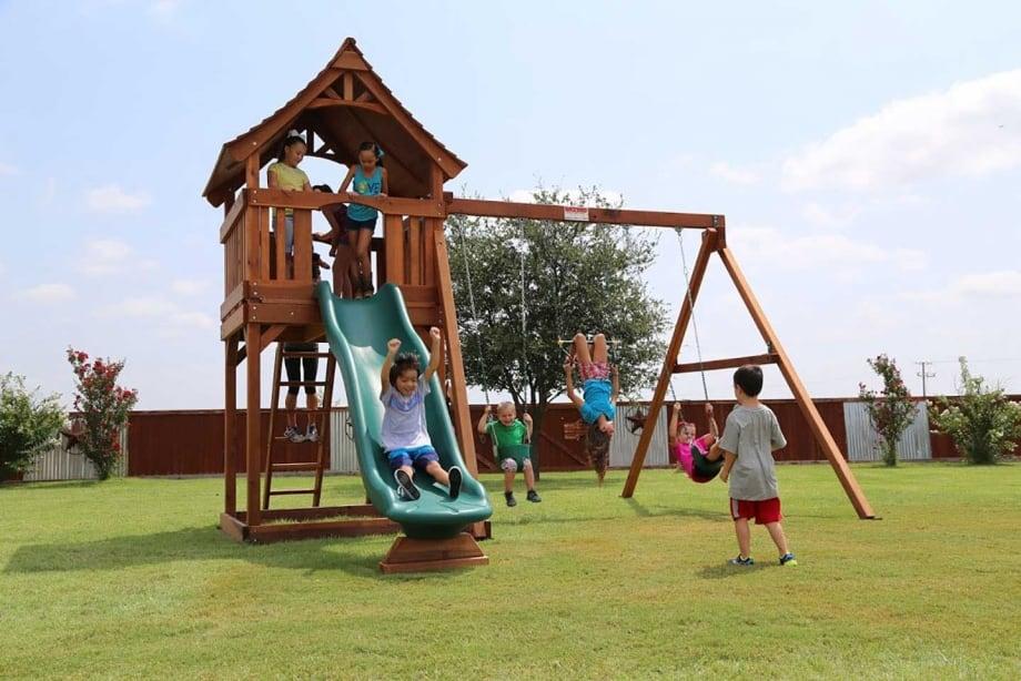 Maverick Swing Set - Maverick - Redwood Swingset Backyard Fun Factory