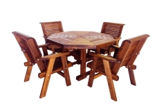 Octagon Dining Table (Shown with 4 Lowback Chairs)