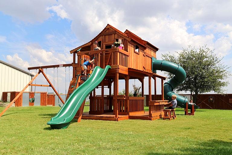 Fort Ticonderoga Tri Level Swing Set Backyard Fun Factory